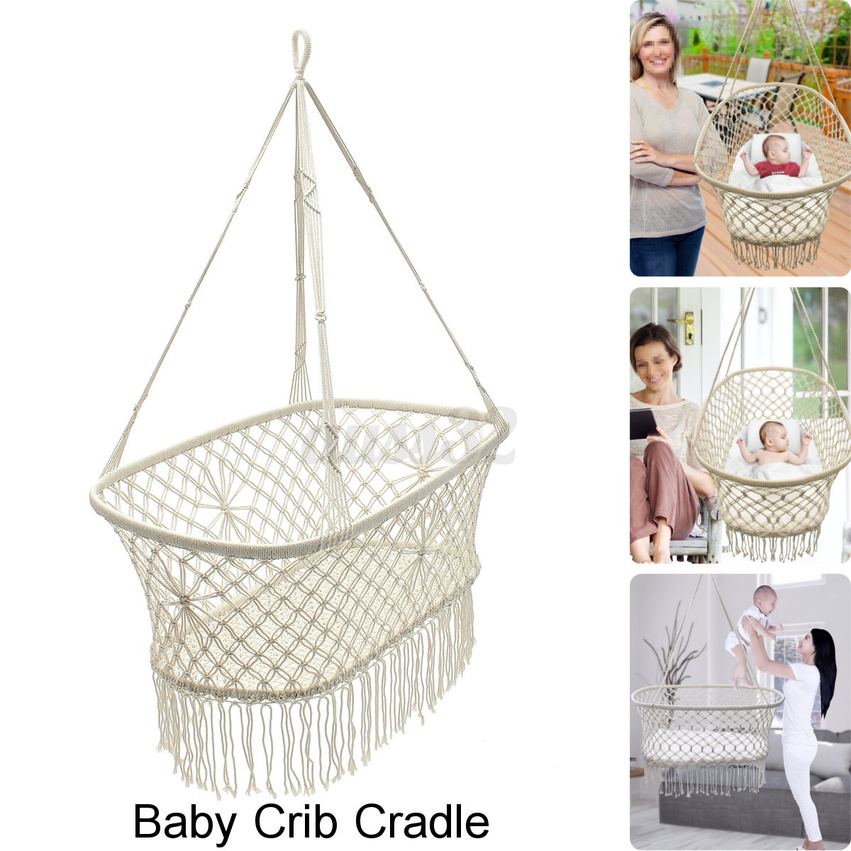 White Hanging Rope Macrame Hammock Chair Swing Baby