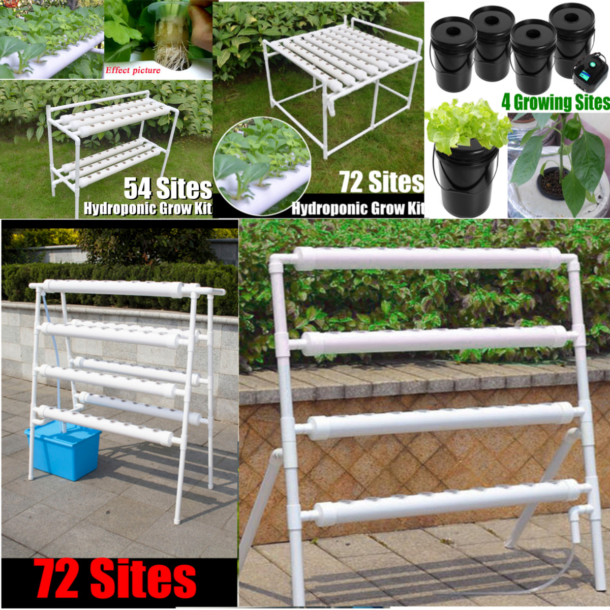 Details about 8Type Plant Site Hydroponic System Grow Bubble Tub DWC Deep  Water Culture Kit