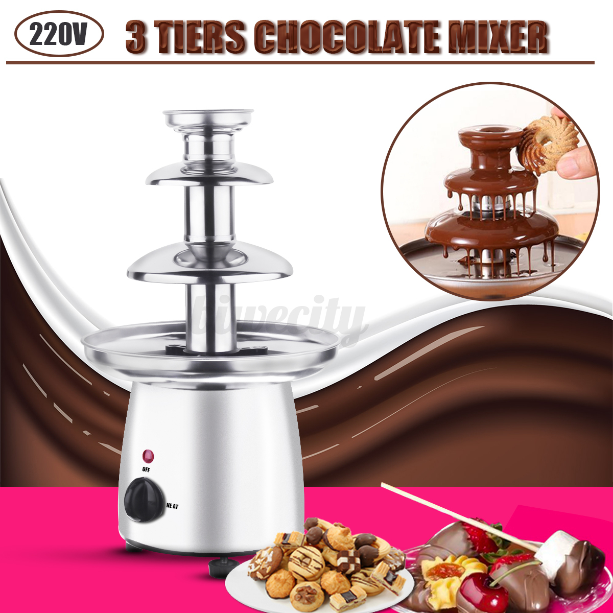 3 tiers mini chocolate fondue maker machine fountain waterfall mixer party gift ebay. Black Bedroom Furniture Sets. Home Design Ideas