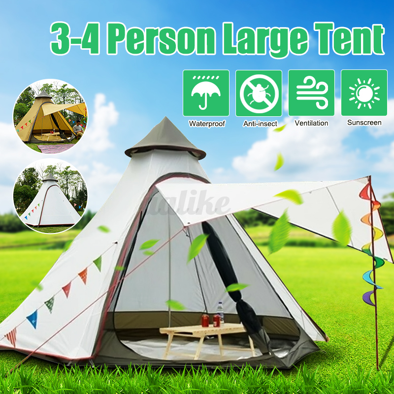 380-330-240CM-Large-Waterproof-Double-Layer-Family-Tent-Teepee-Camping-Outdoor