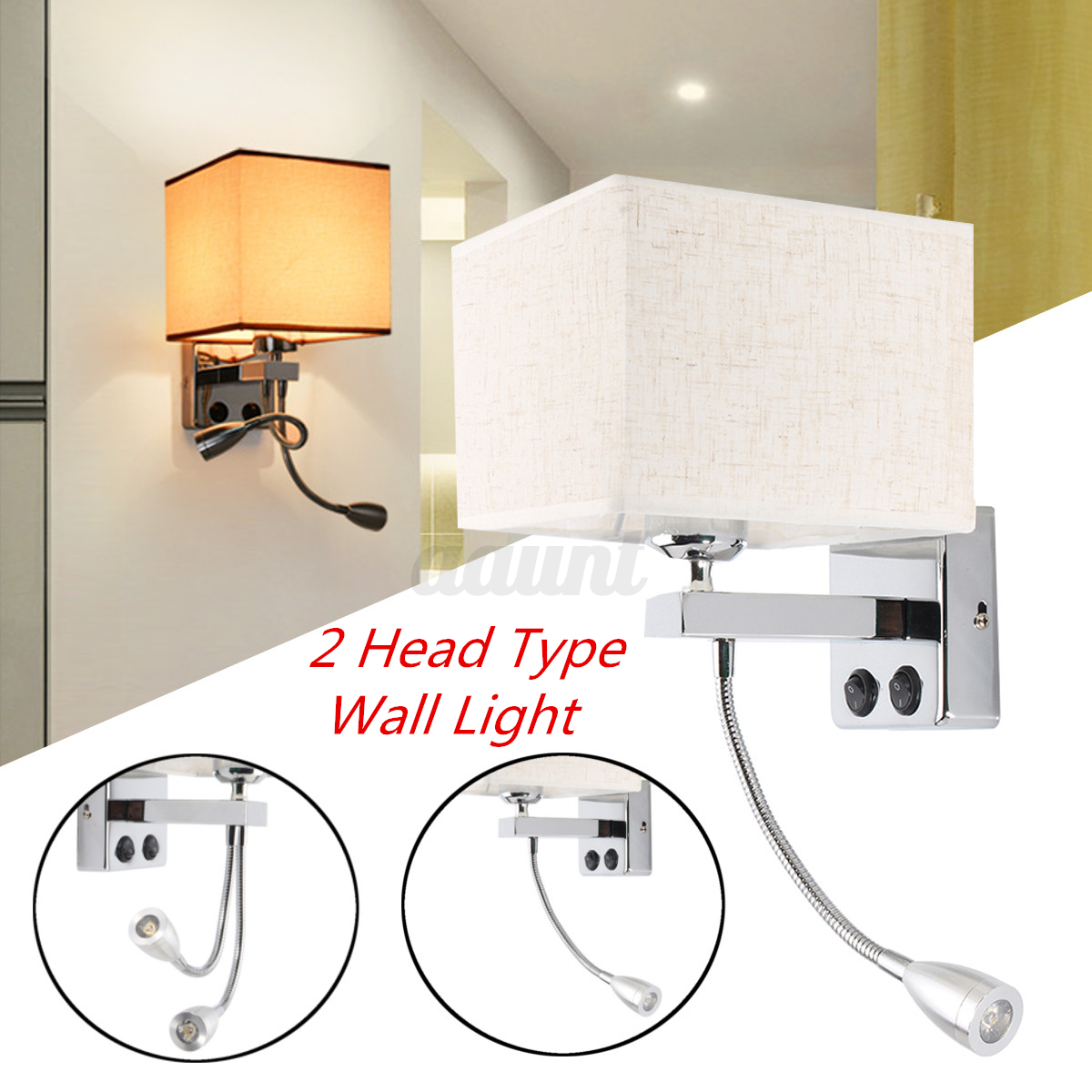 Details about modern led cloth wall lamp sconce light hallway porch bedroom bedside lighting