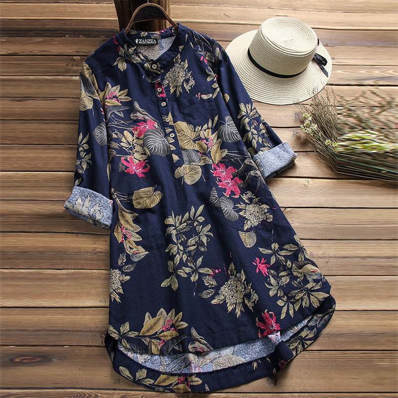 ZANZEA-10-24-Women-Plus-Size-Mini-Short-Floral-Dress-Top-Tee-Shirt-Tunic-Blouse