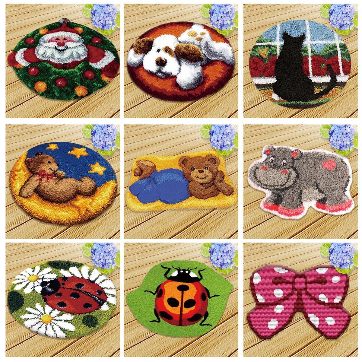 Bear, 20x20 inch Latch Hook Kit DIY Rug Carpet Handcraft Cushion Embroidery Set Crocheting for Kids /& Adults Animal//Flower Pattern