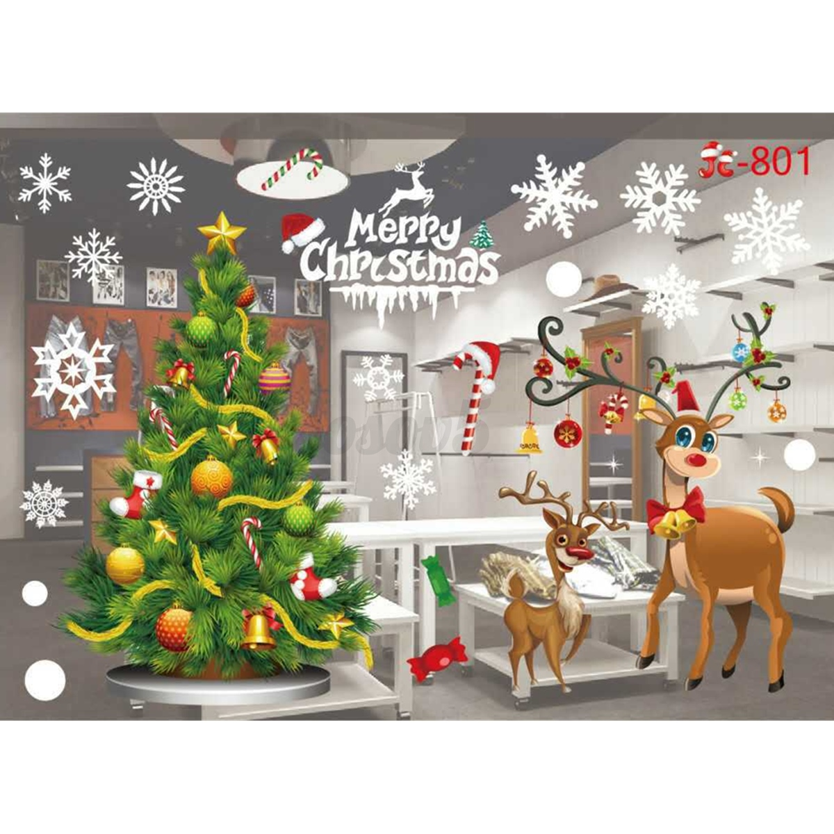 Christmas Decorations For Home Windows: Home Window Glass Wall Sticker Decals Hotel Holiday Party