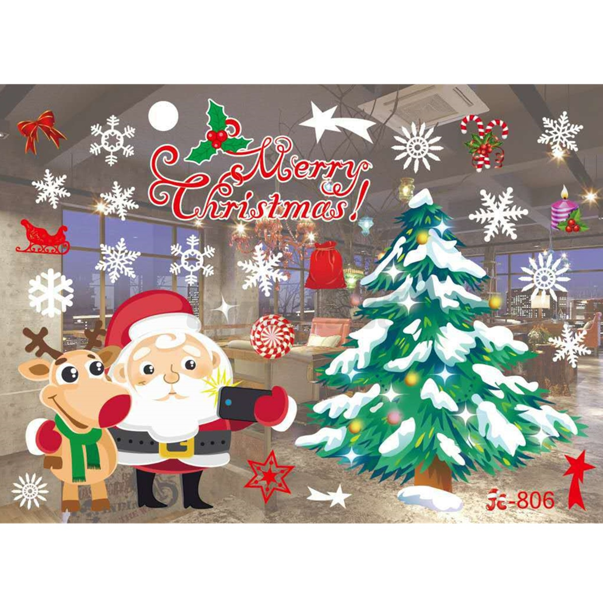 Au christmas xmas window glass wall stickers decals for B m xmas decorations