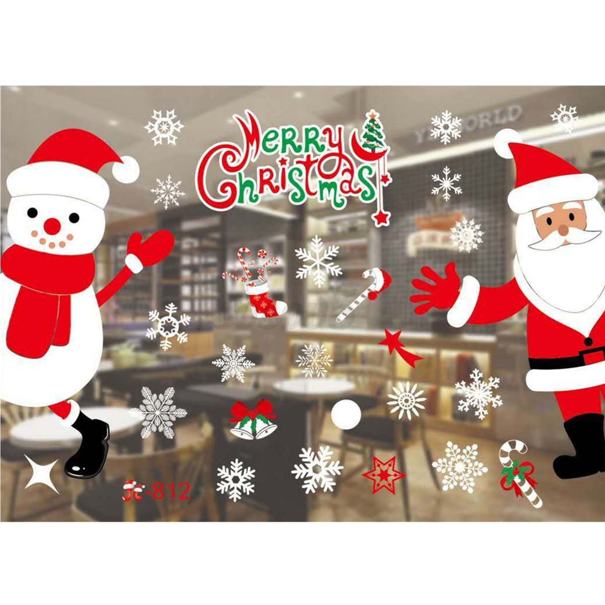 Removable Christmas Wall Stickers Home Window Glass Wall Sticker Decals Hotel Holiday Party