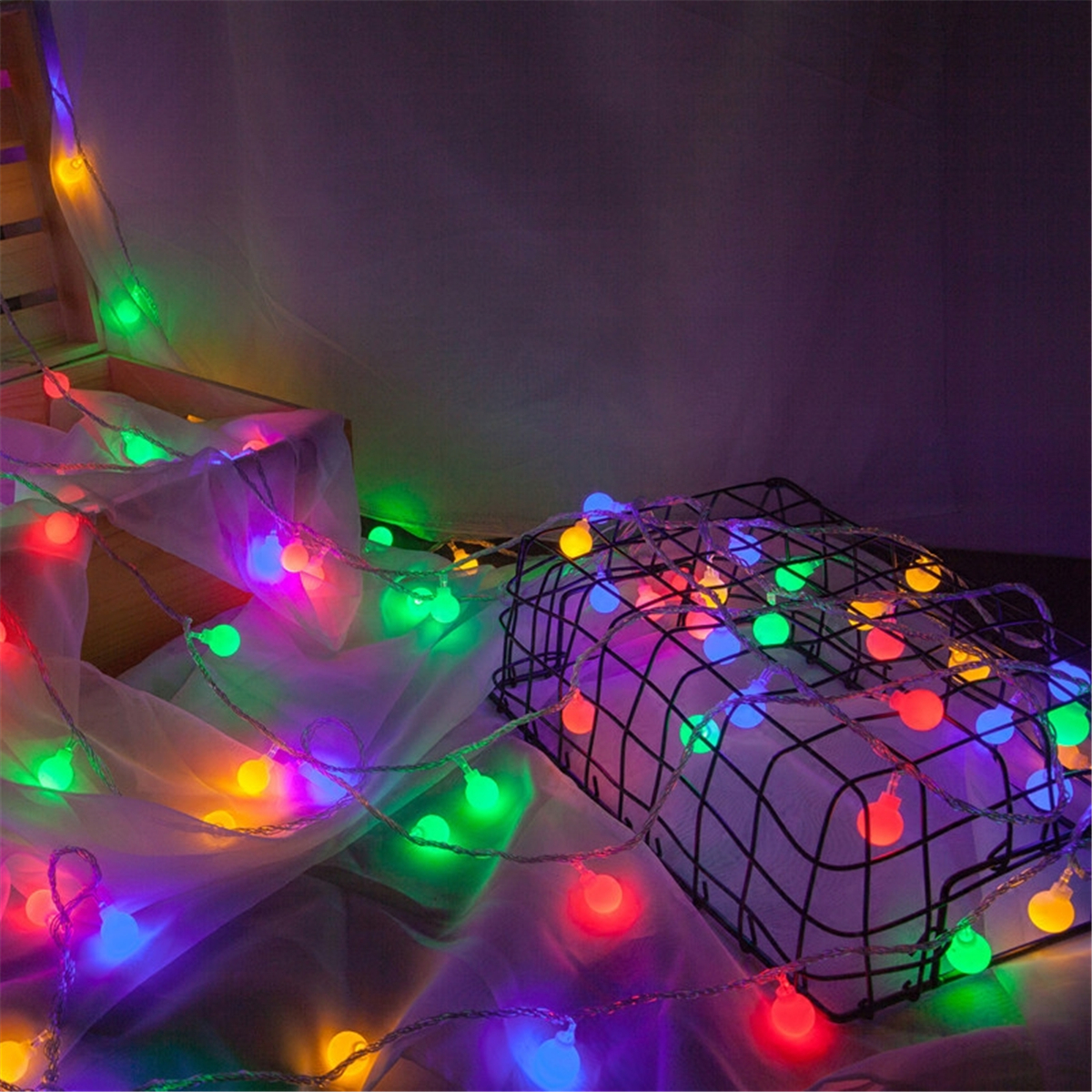 Led Outdoor Party String Lights: 20~50 LED Round Ball Christmas Outdoor Garden Fairy String