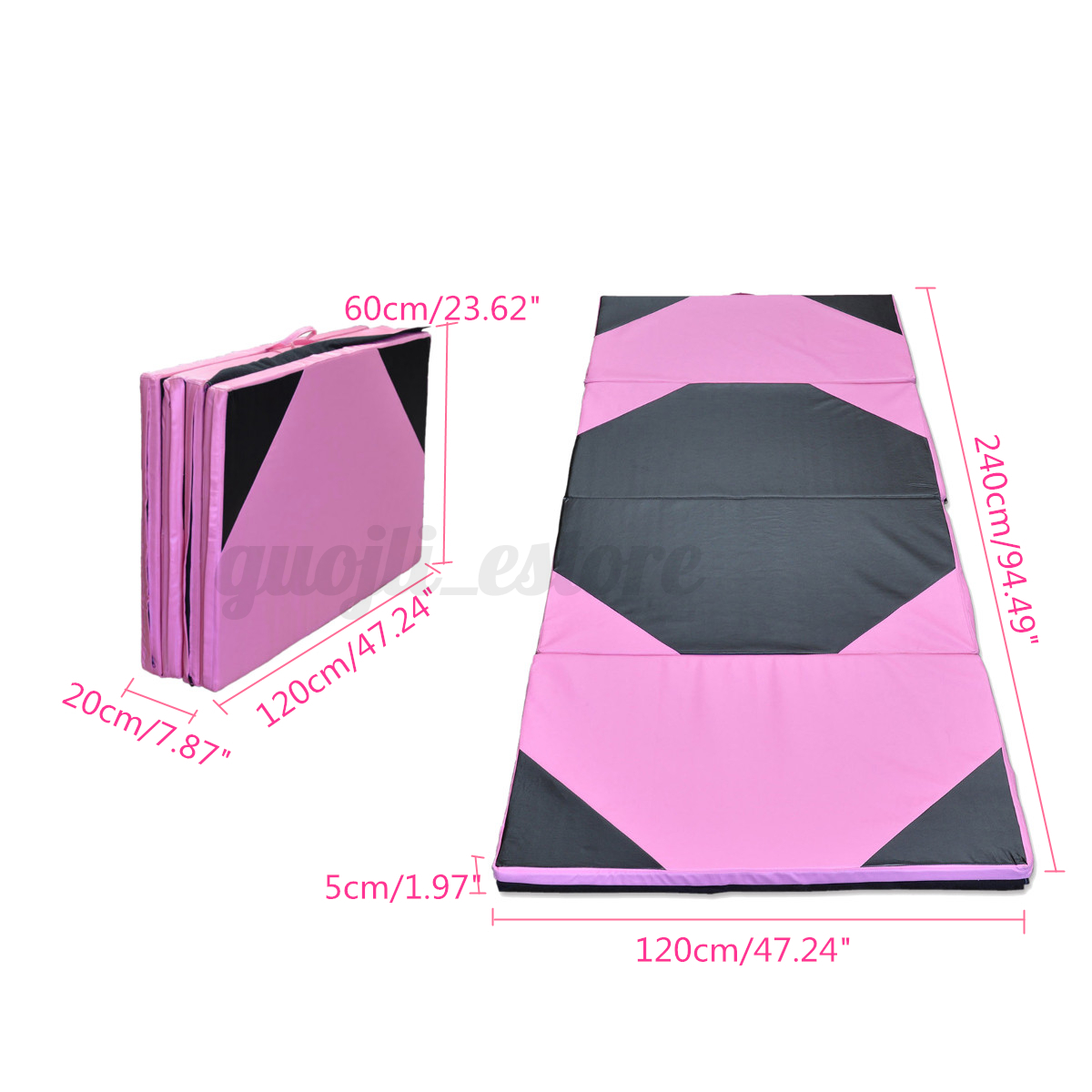 mats yoga black pink gym cm clearance exercise gymnastics floor fitness leisure mat foam folding homcom thick sports pilates