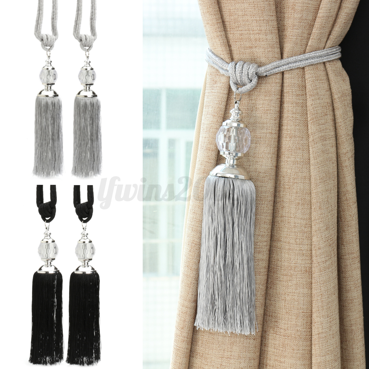 Drape Ties: 2Pcs New Curtain Tiebacks Luxury Tassel Beaded Holdbacks