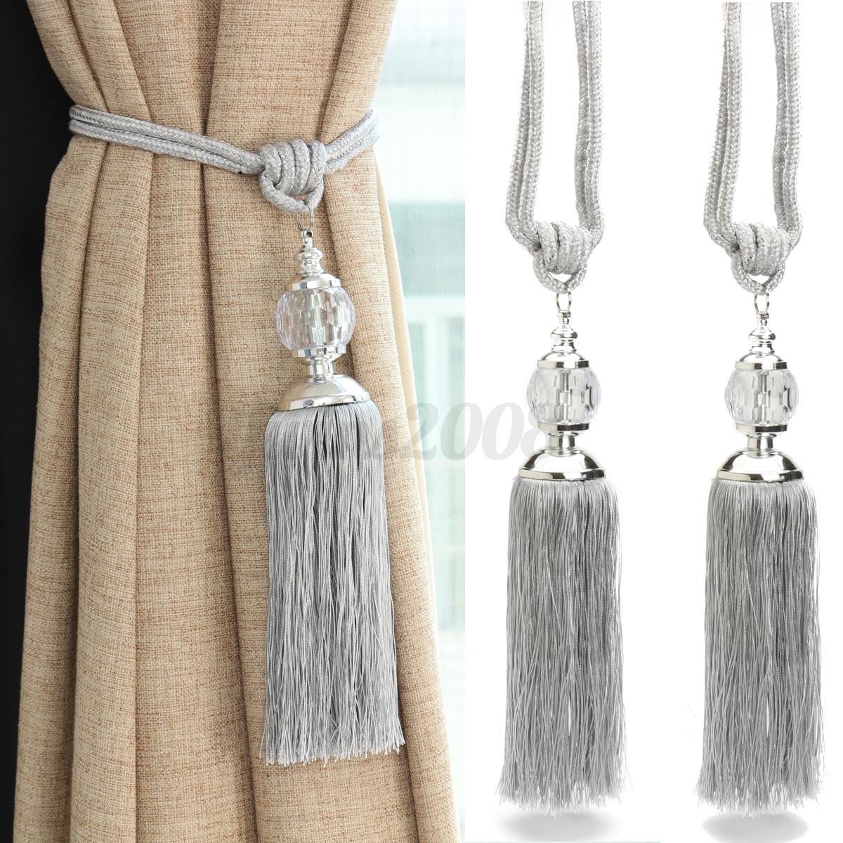 2pcs New Curtain Tiebacks Luxury Tassel Beaded Holdbacks Drapes