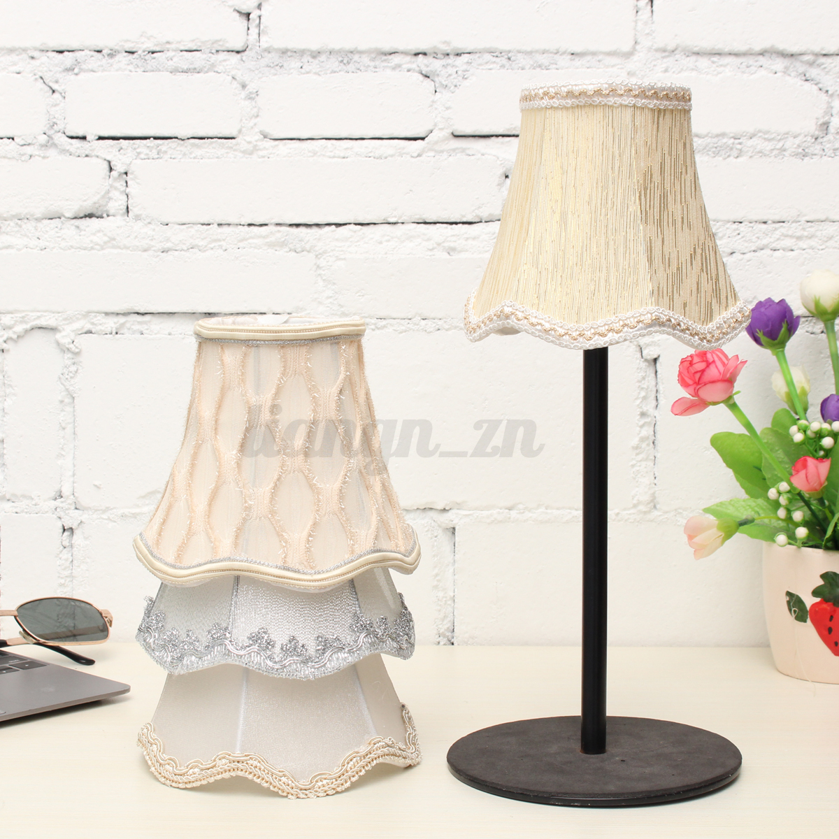 vintage abat jour fleur tissu dentelle lampshade pendentif mural lampe table ebay. Black Bedroom Furniture Sets. Home Design Ideas