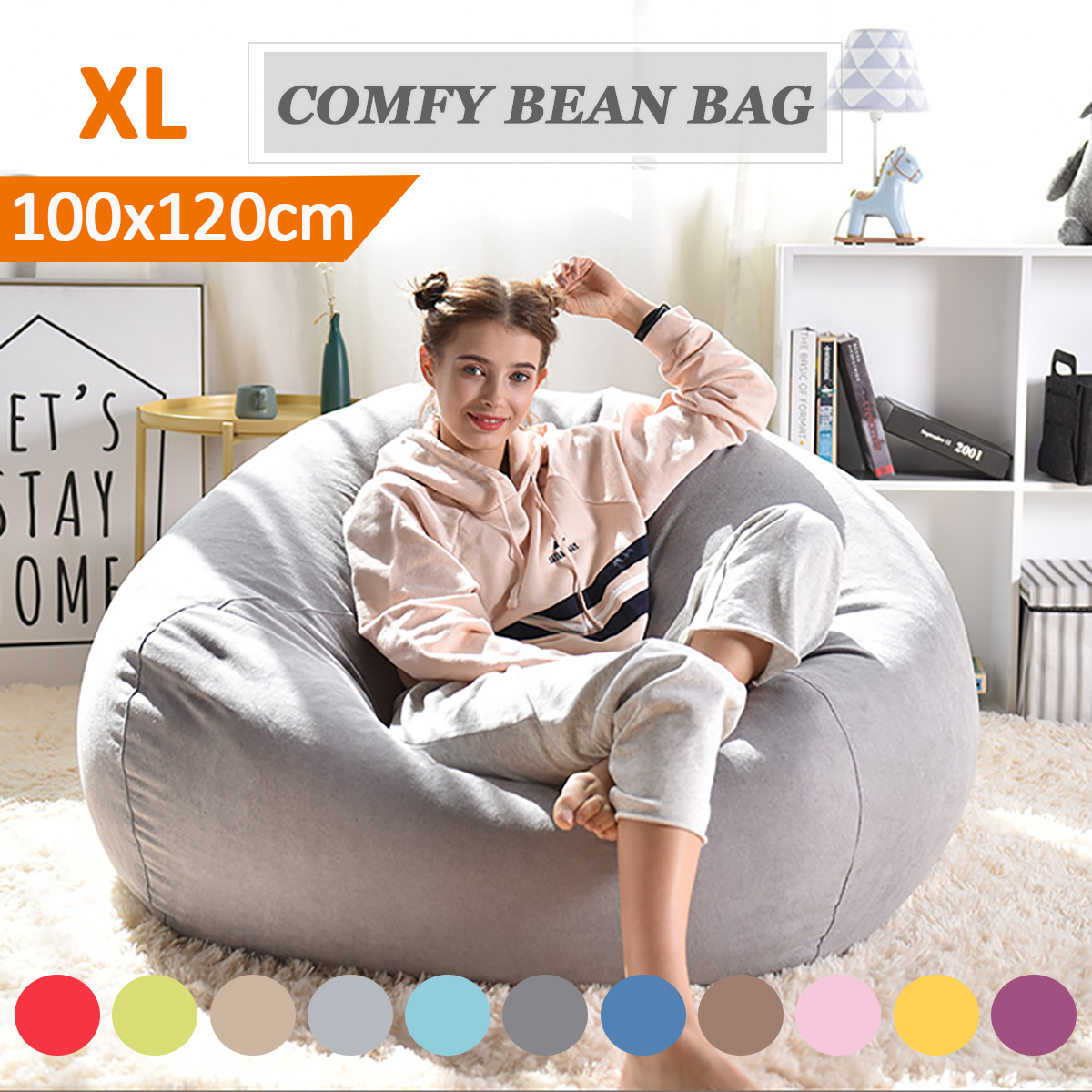 2019 Extra Large Bean Bag Chair Sofa Cover Indoor Outdoor Game Seat