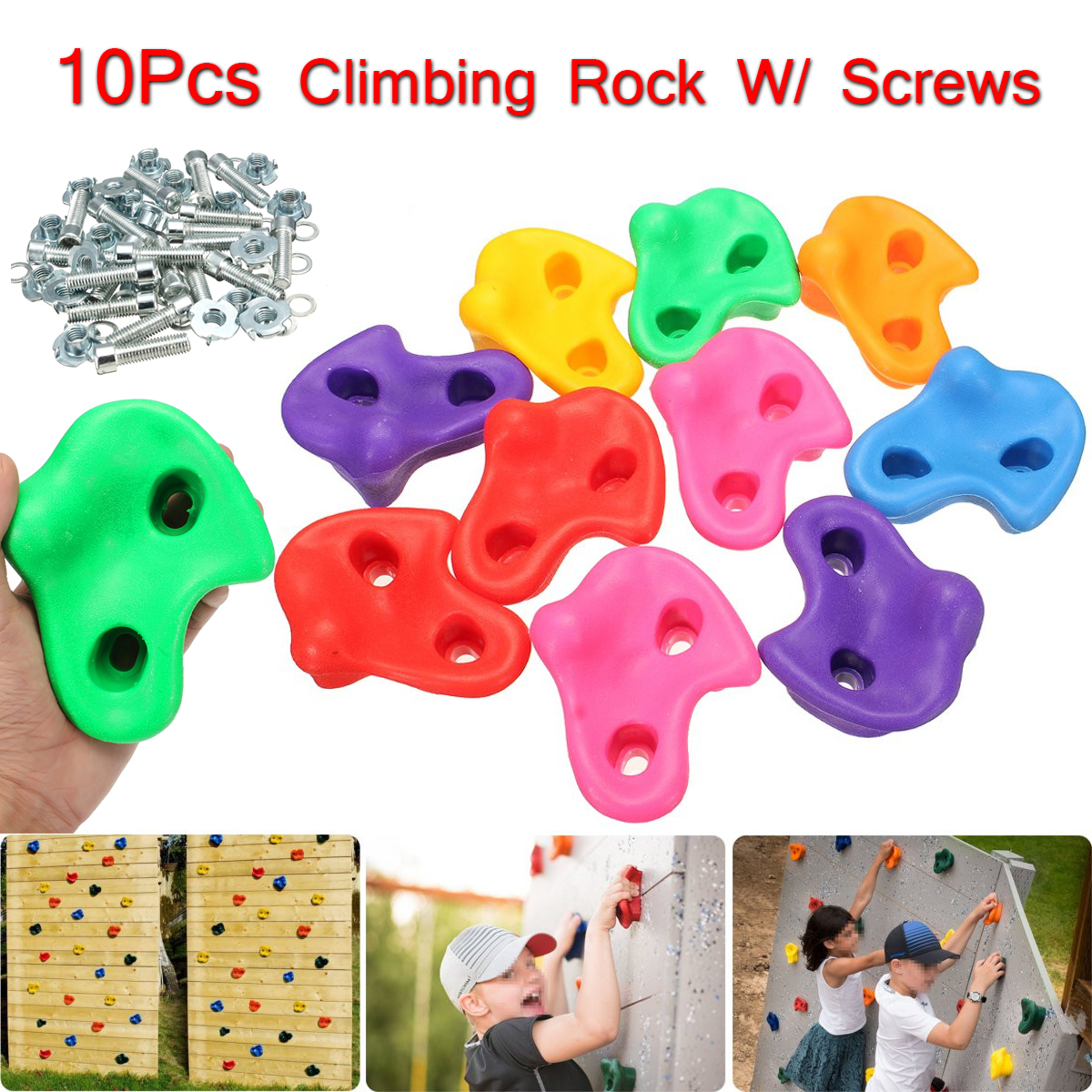 10pcs Plastic Climbing Holds Grips Children/'s Kids Rock Climbing Wall Stones