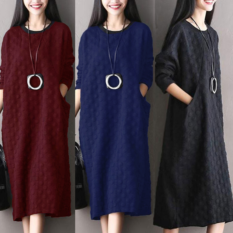 ZANZEA 10-24 Women Casual Loose Plus Size Pullover Kaftan Dotted Long Midi Dress
