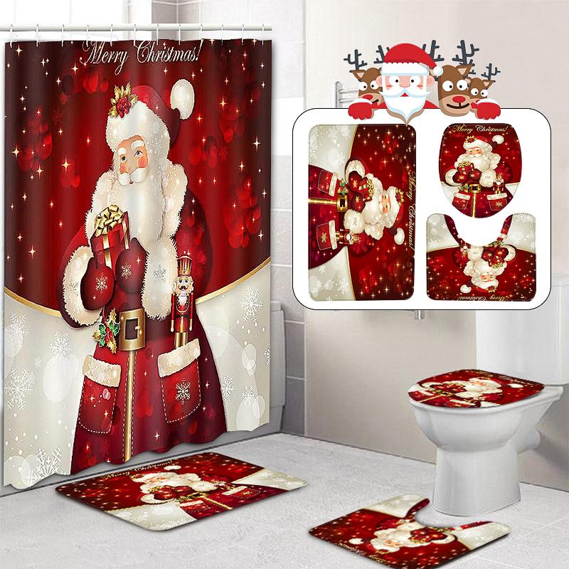 US Christmas Santa Claus Shower Curtain Pedestal Rug Lid Toilet Cover Bath Mat