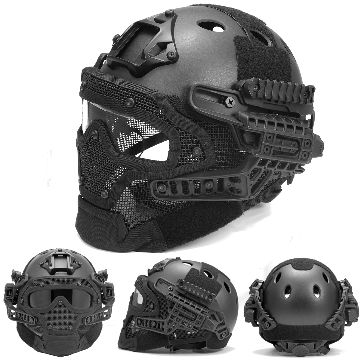 Tactical-Airsoft-Paintball-Fast-Helmet-Protective-w-Mask-Goggles-amp-G4-System
