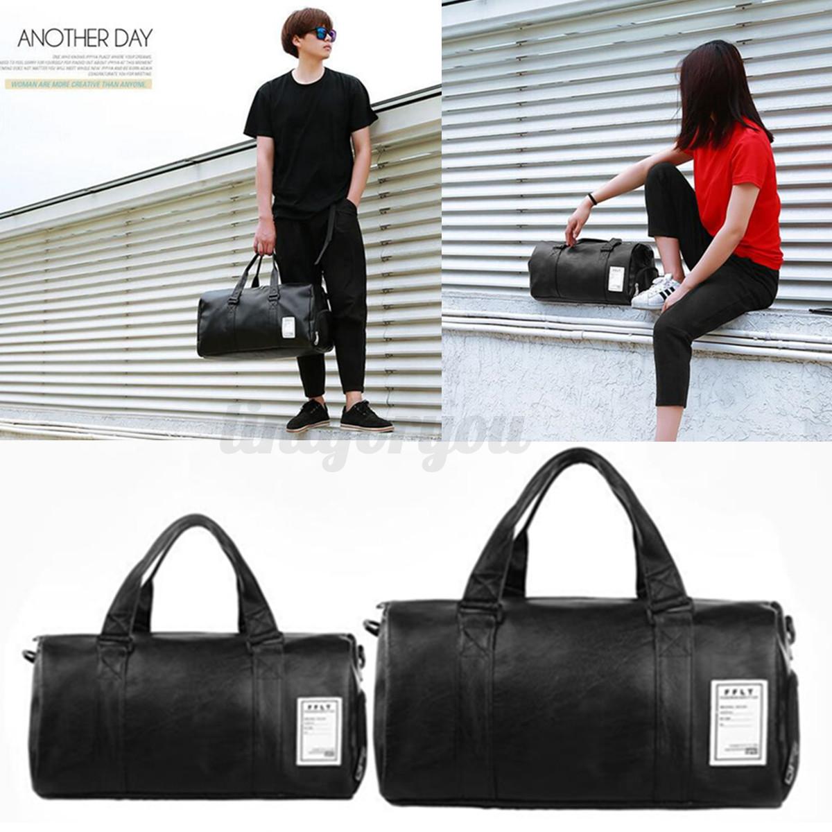Men Women Leather Gym Duffel Shoulder Bag Travel Luggage Lar