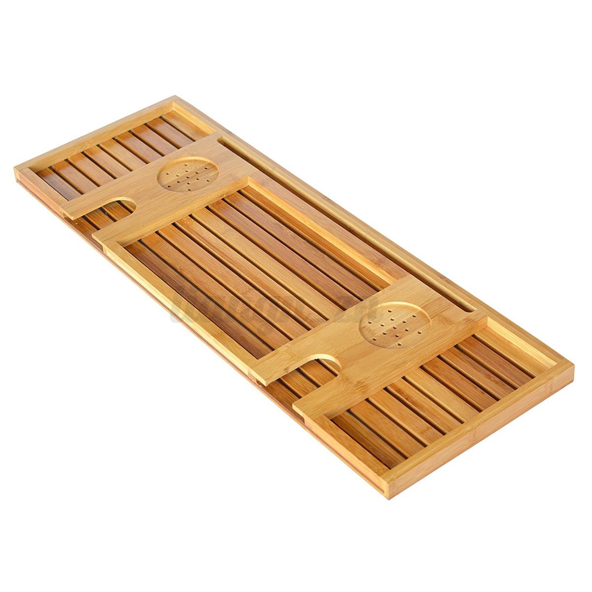 Pont de baignoire tablette bambou bois salle de bain for Tablette bois salle de bain