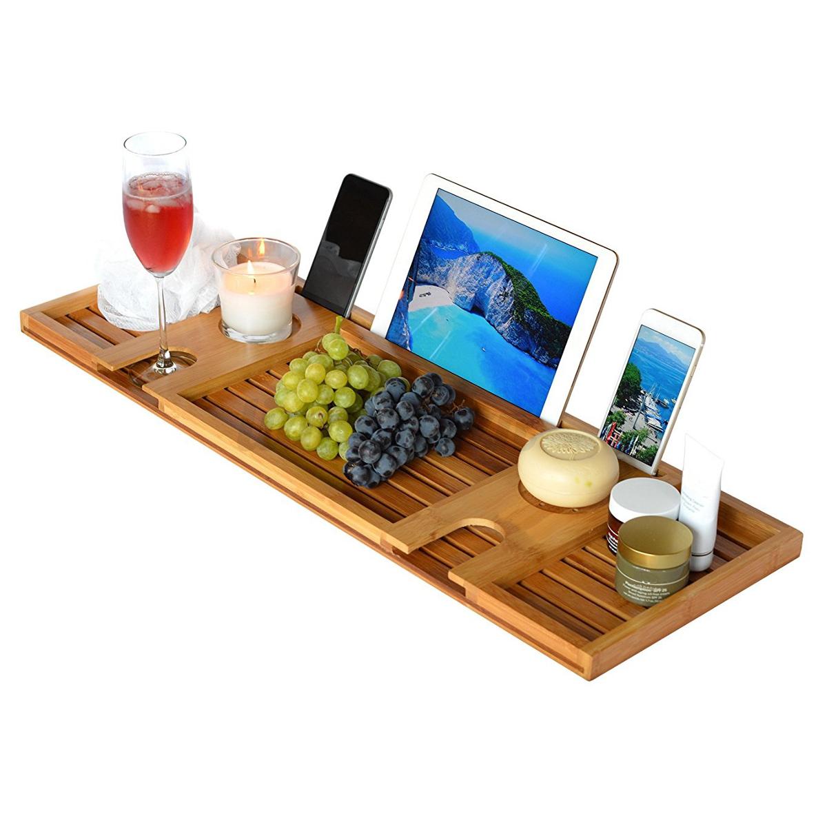 pont de baignoire tablette bambou bois salle de bain plateau support porte livre ebay. Black Bedroom Furniture Sets. Home Design Ideas