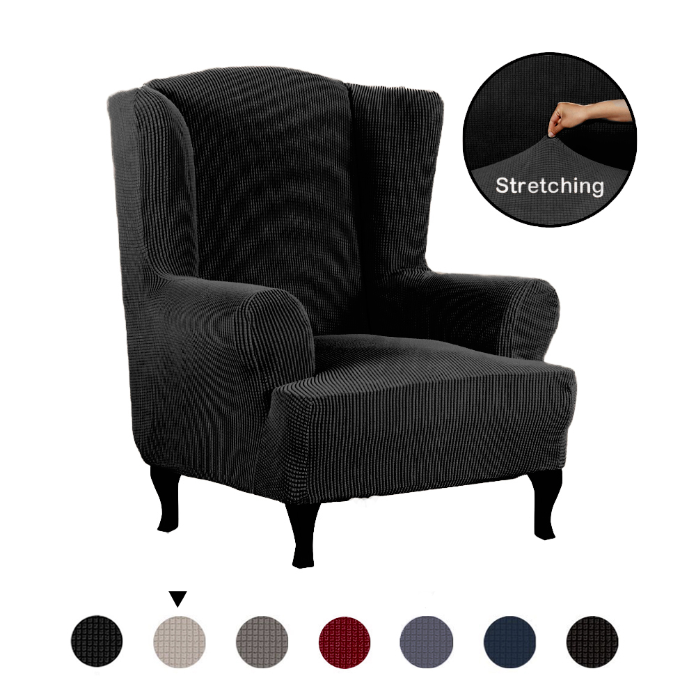 All-inclusive-Thick-Stretch-Wing-Chair-Cover-Slipcover-Wingback-Armchair-Cover miniature 14