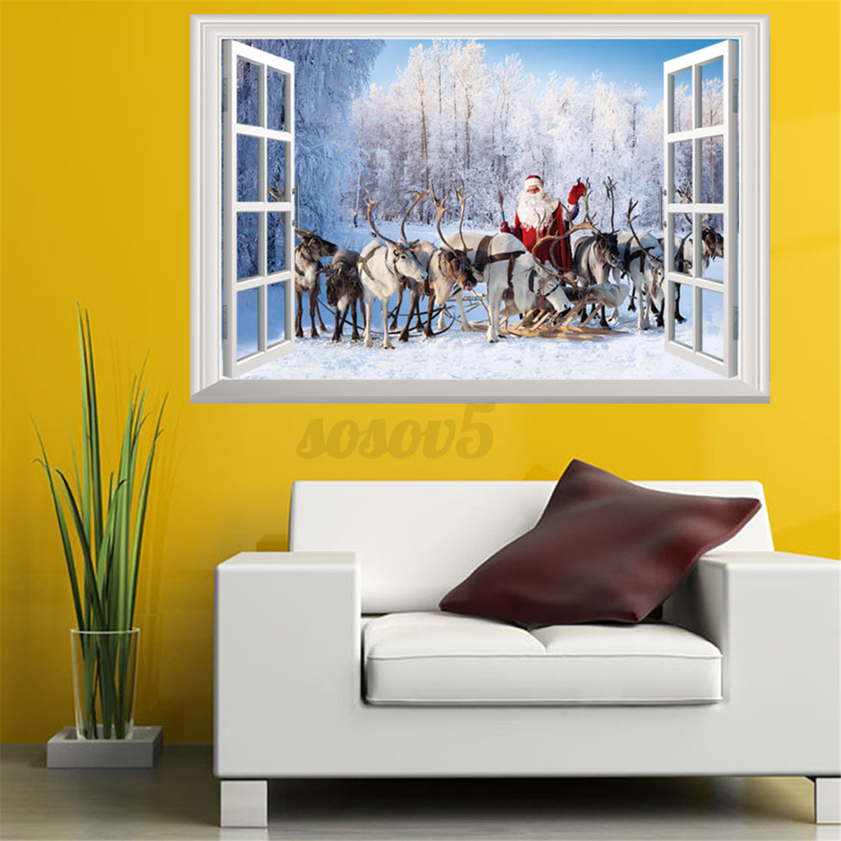 3d window view wall stickers xmas santa claus elk deer for 3d wall decals