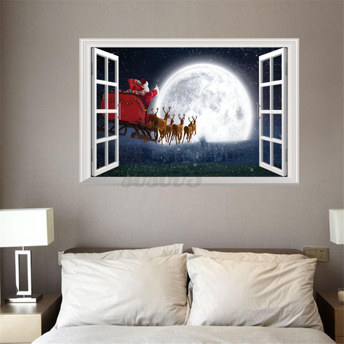 D Window View Wall Stickers Xmas Santa Claus Elk Deer Decals - Wall decals murals