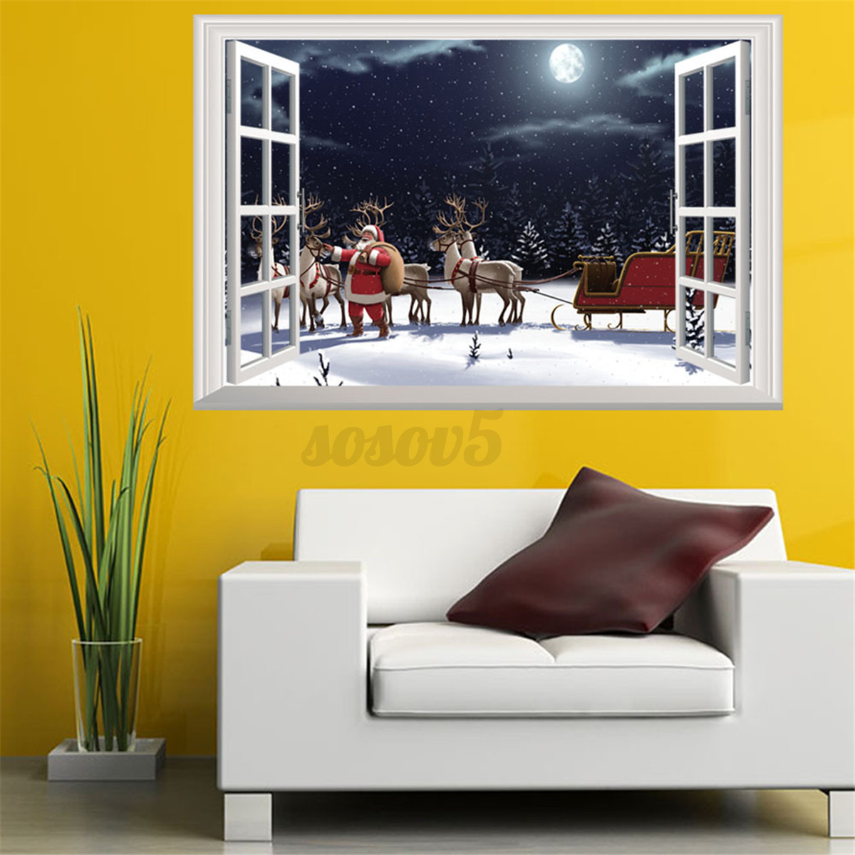 3d window view wall stickers xmas santa claus elk deer for Home decor 3d stickers