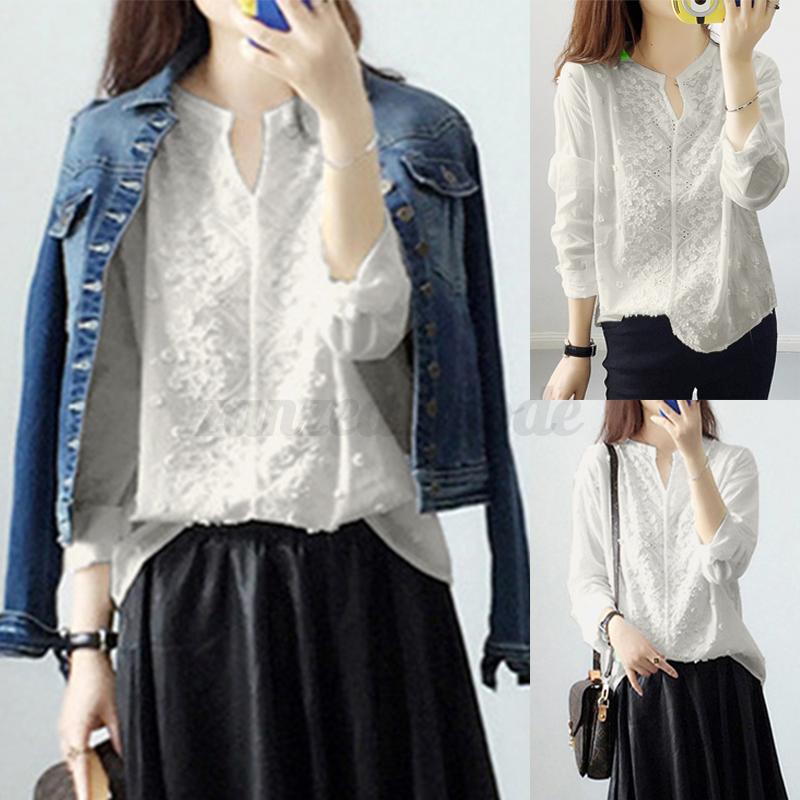 Oversize-Femme-Col-V-Broderie-Manche-Longue-Casual-Coton-Chemise-Tops-Shirt miniature 2