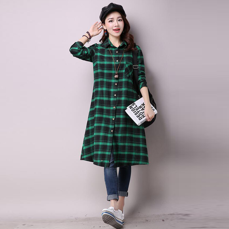 Womens-Turn-Down-Collar-Buttons-Open-Loose-Check-Plaid-Tops-Blouse-Shirt-Dress