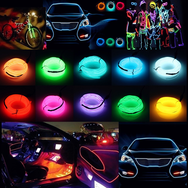 1-20M LED String Strip Light Glow EL Wire Rope Tube Car Dance Party ...