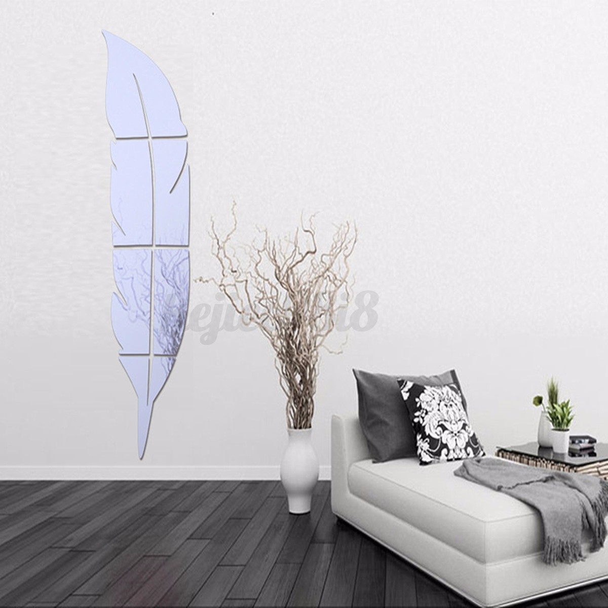3d modern feather mirror wall sticker diy home room art for Diy wall photo mural