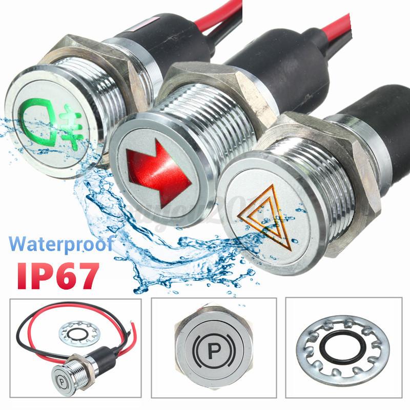 12V Amber Red Blue Green LED Lamp Dash Panel Indicator Light Assortment Kit 4
