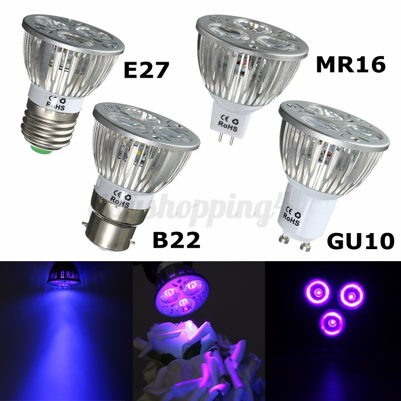 3w 3x1w e27 b22 gu10 mr16 uv ultraviolet purple light led bulb lamp 85 265v 12v ebay. Black Bedroom Furniture Sets. Home Design Ideas
