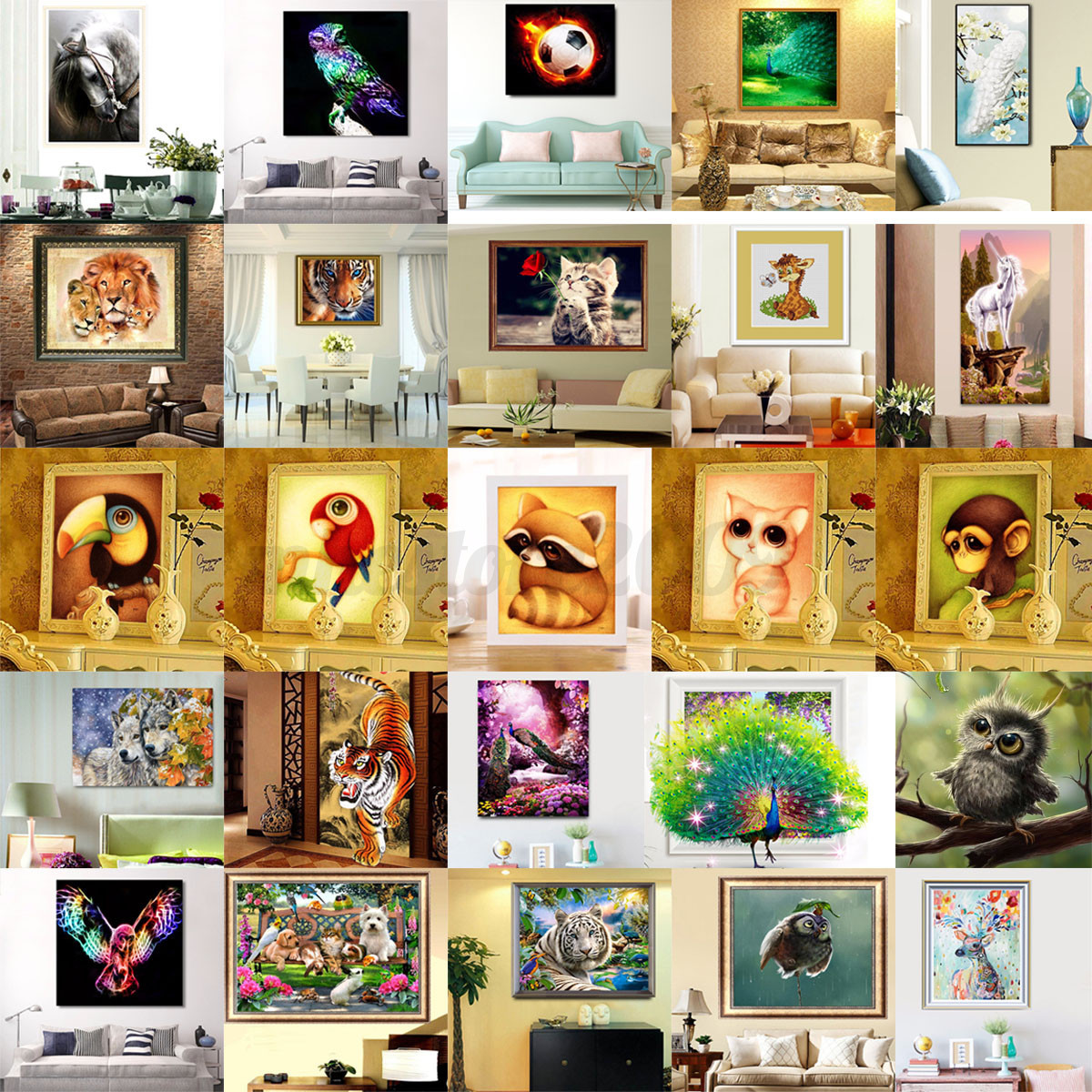 Diy 5d Diamond Painting Animal Embroidery Cross Crafts Stitch Home Decor Kits Ebay