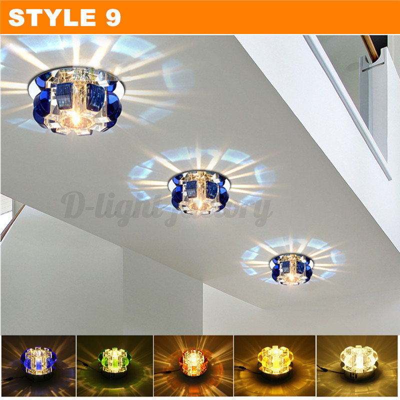 Modern Crystal LED Ceiling Light Fixture Aisle Hallway