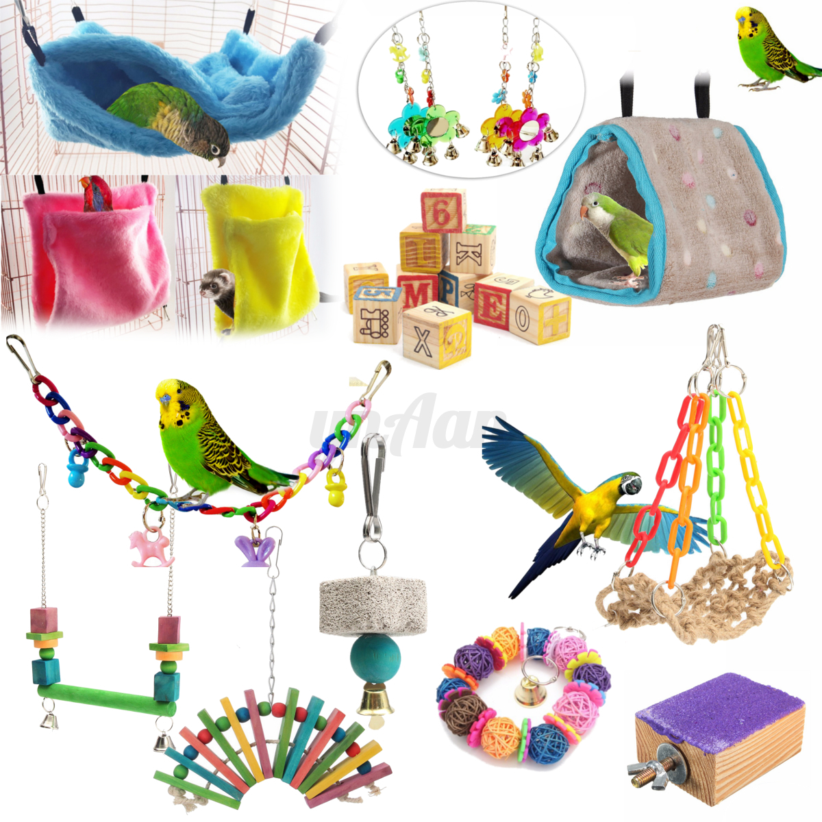 Bird Toys For Birds : Colorful parrot swing bird toy nest bed rope cage toys