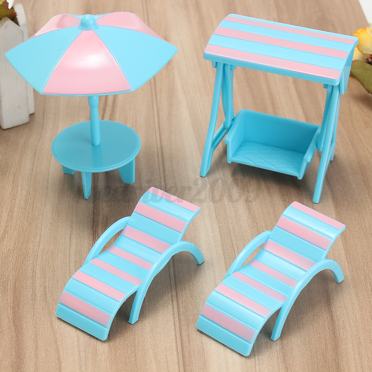 1/12 Dollhouse Miniature Furniture Plastic chair Table kitchen ...