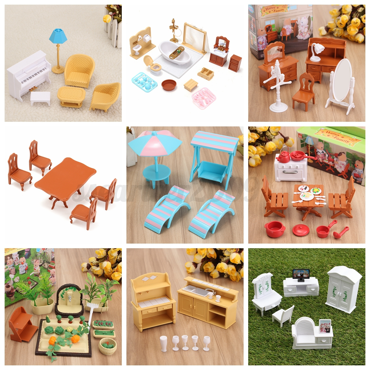 Kaka Pvc Kitchen Furniture: 1/12 Dollhouse Miniature Furniture Plastic Chair Table