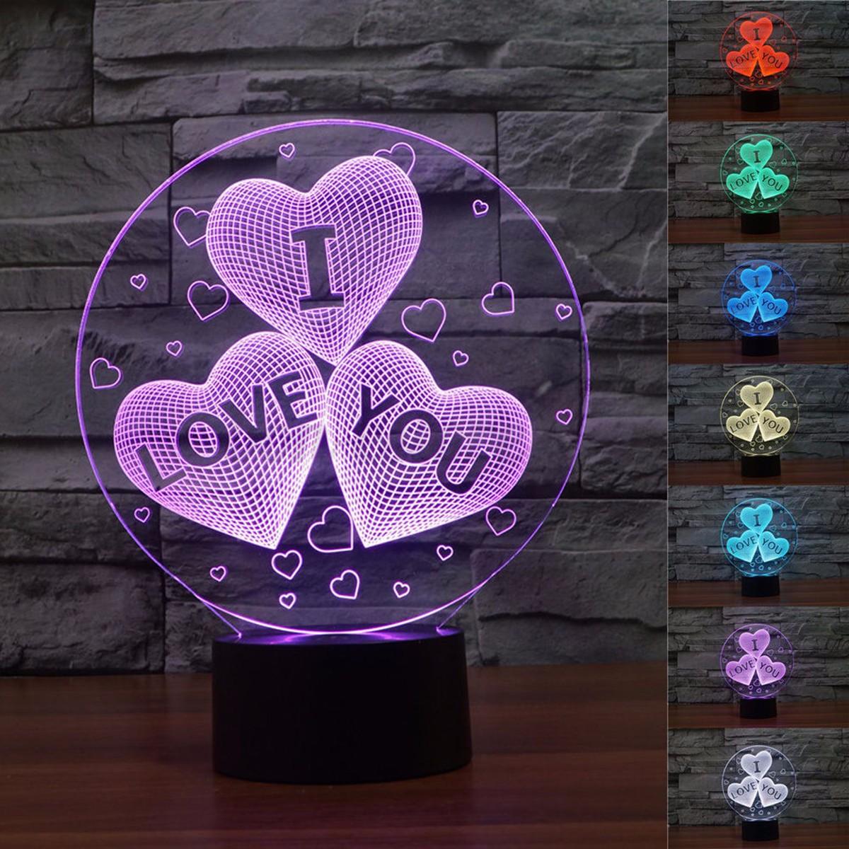 3D Illuminated Night Illusion Lights 7 Color Change LED ...