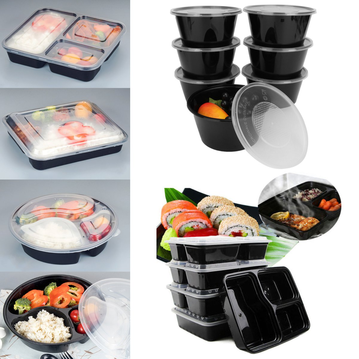 10//20//50 Set Meal Prep Container Plastic Food Storage Bento Lunch Box with