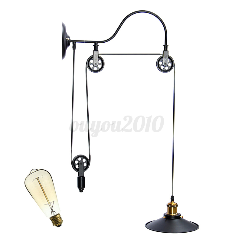 Loft Retro Vintage Pulley Pendant Ceiling Light Hanging