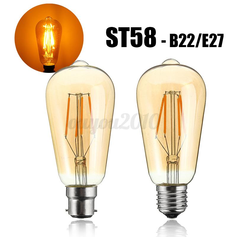 Vintage-B22-E27-LED-COB-4W-G95-ST58-A60-Globe-Cage-Ampoule-Edison-Filament-Lampe