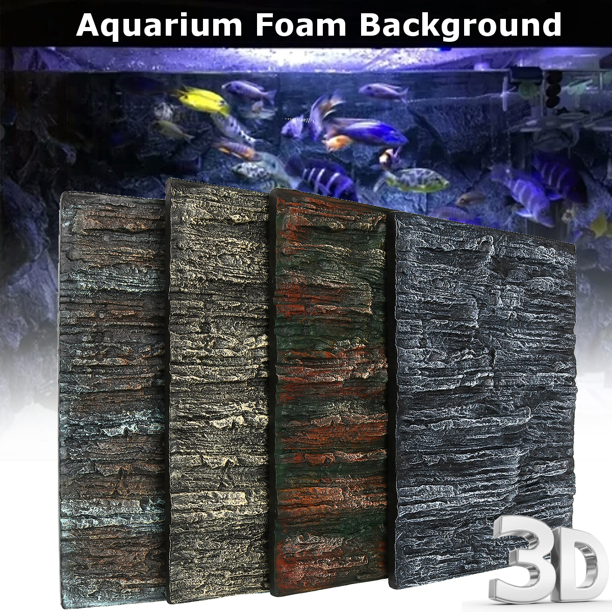 2pz Sfondo 3D Onda Rock Decorazione Acquario Terrario Fish Tank Foam Background