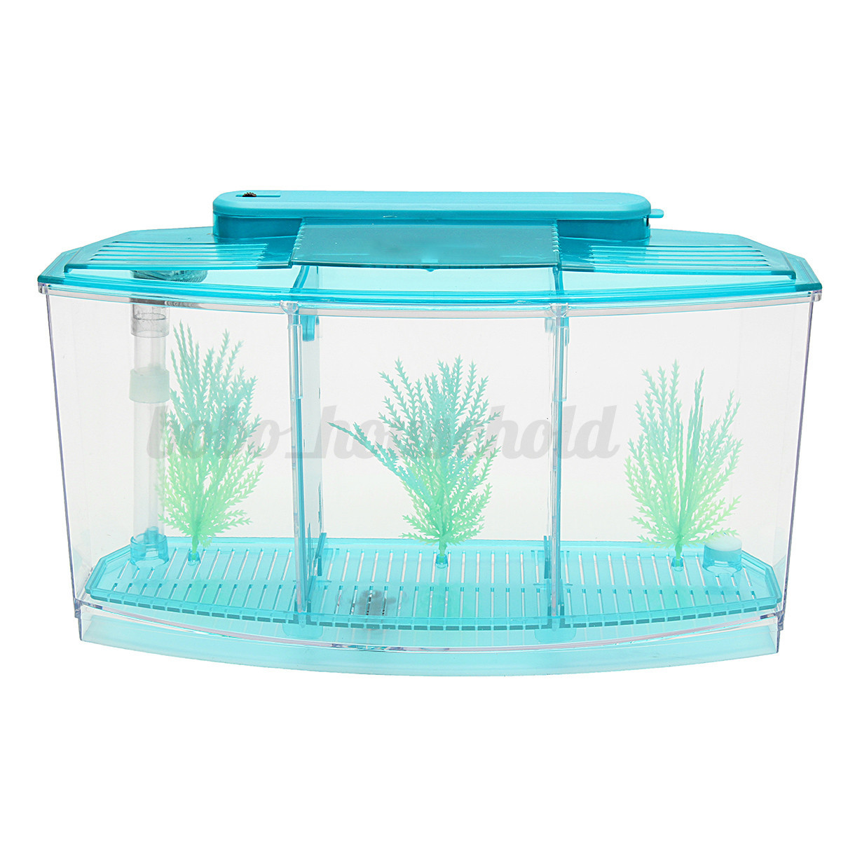 Led light triple cube betta aquarium box separate breeding for Betta fish tank light