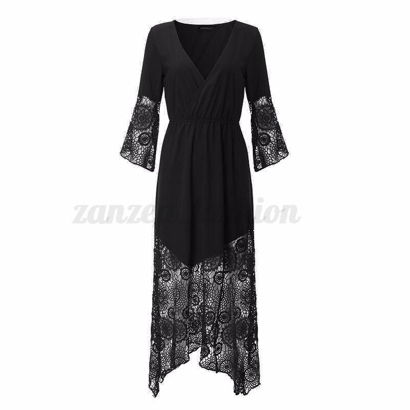 Women v neck lace crochet cardigan long maxi shirt dresses for Long beach ny shirts