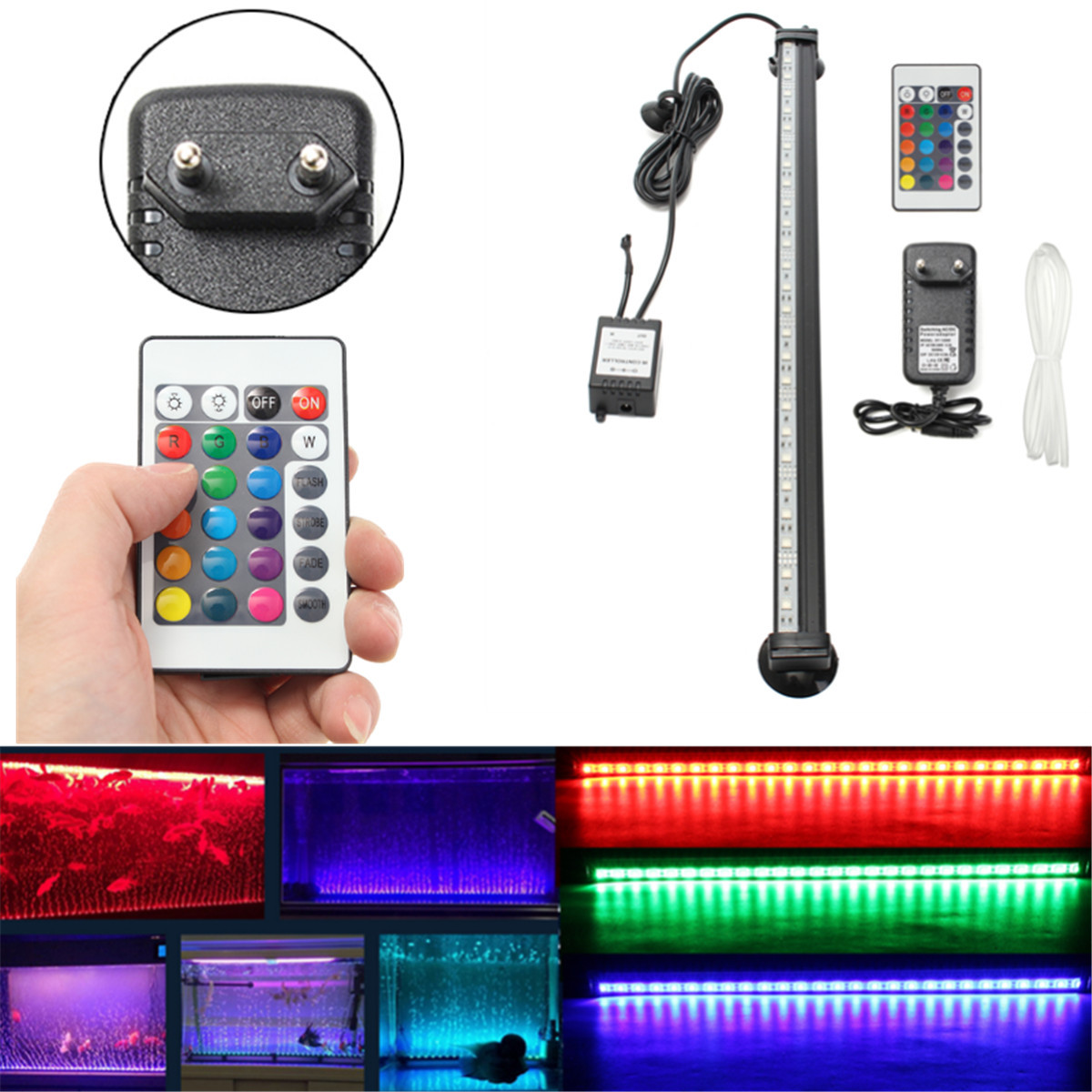 led aquarium beleuchtung unterwasser lampe rgb lichtleiste fernbedienung eu plug ebay. Black Bedroom Furniture Sets. Home Design Ideas