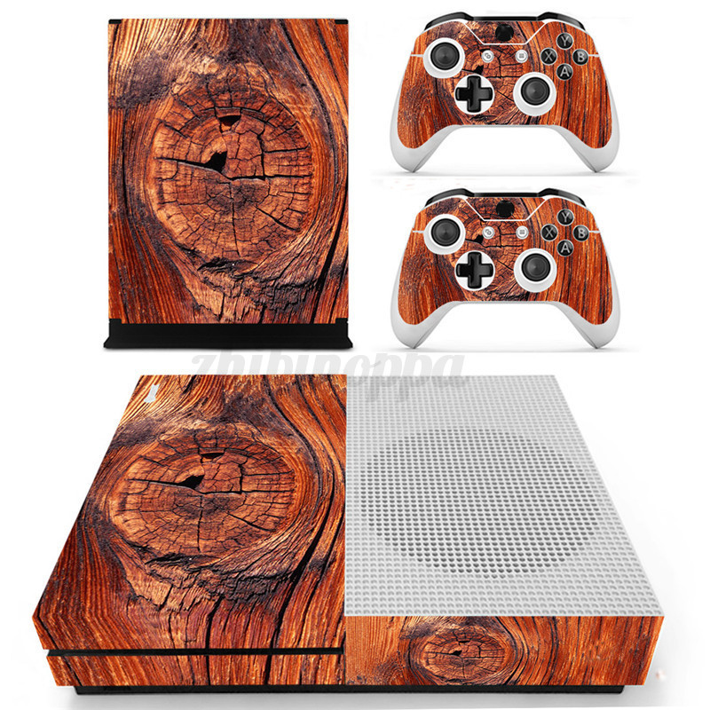 Wood-Grain-Designer-Skin-Sticker-For-XBOX-ONE-S-Gaming-Console-2-Controller