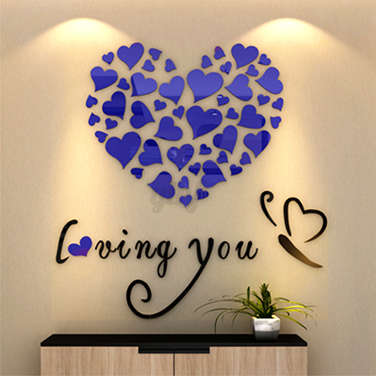 3d heart mirror wall stickers wedding party bedroom decor for Bedroom 3d wall stickers