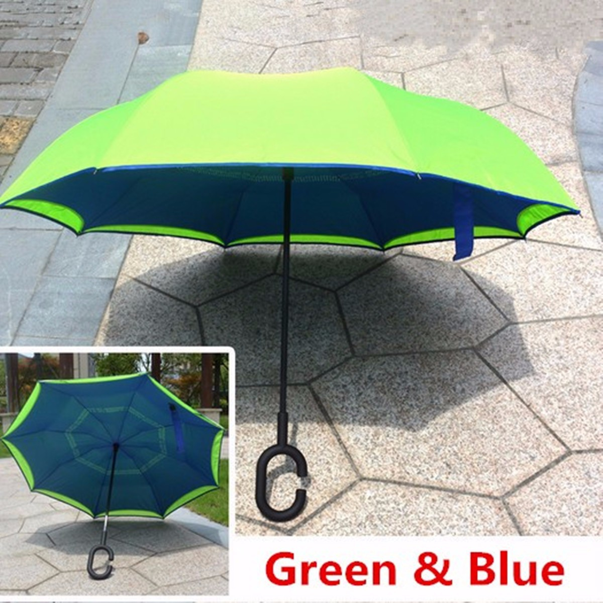 New Windproof Double Layer Upside Down Inverted Umbrella Reverse ...