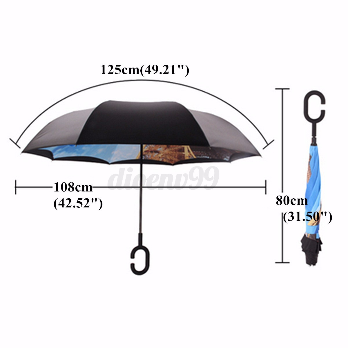 Gardenia Flower Delivery Upside Down Double Layer Inverted Umbrella Reverse C J